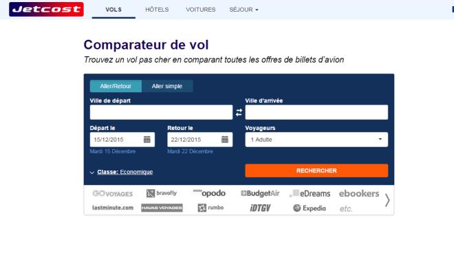 La page d'accueil du site www.JetCost.fr qui comparee vos billets d'avions pour vos vacances