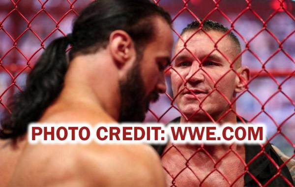 WWE Champion Drew McIntyre and Randy Orton faceoff in Hell in a Cell. Courtesy of WWE.com.