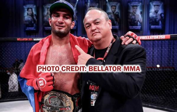 Bellator middleweight champion Gegard Mousasi with Bellator President Scott Coker. Courtesy of Bellator MMA.