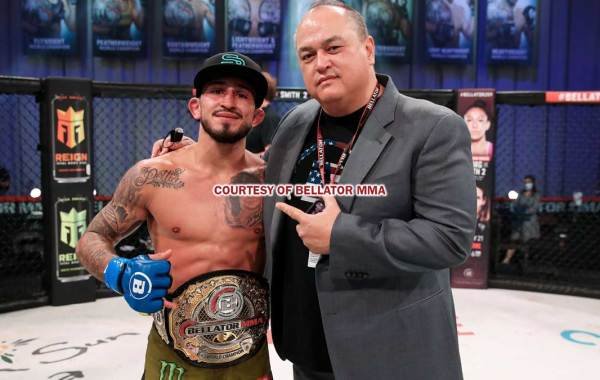 Bellator President Scott Coker with Bellator bantamweight champion Sergio Pettis. Courtesy of Bellator MMA / Lucas Noonan.