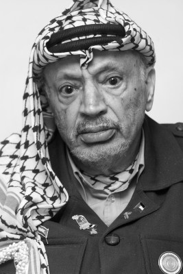 Palestinian president Yassir Arafat, photographed in his Ramallah headquarters