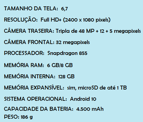Samsung Galaxy S10 Lite Ficha Técnica