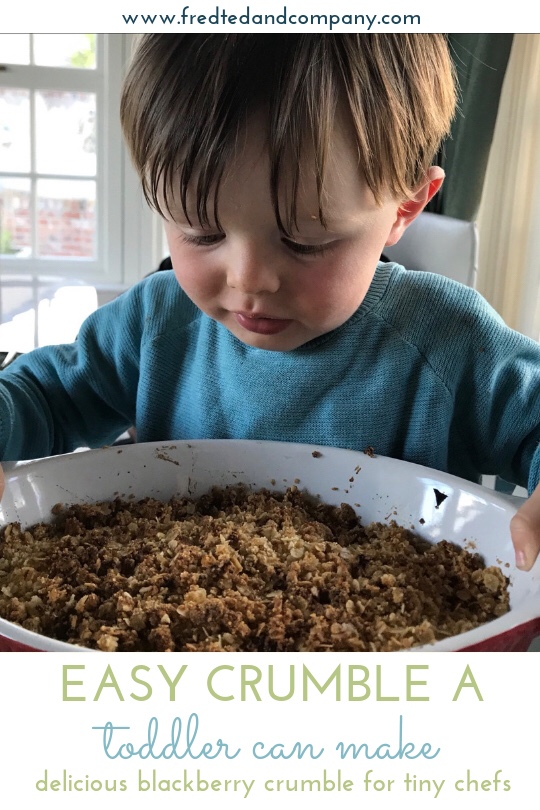 Montessori Toddler - Baking with a toddler, easy Blackberry Crumble to make with kids