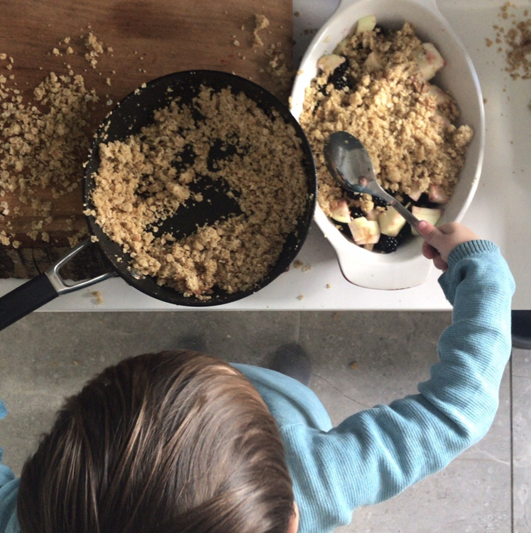 Montessori - Cooking With A Toddler. Baking a blackberry crumble with a 2 Year Old