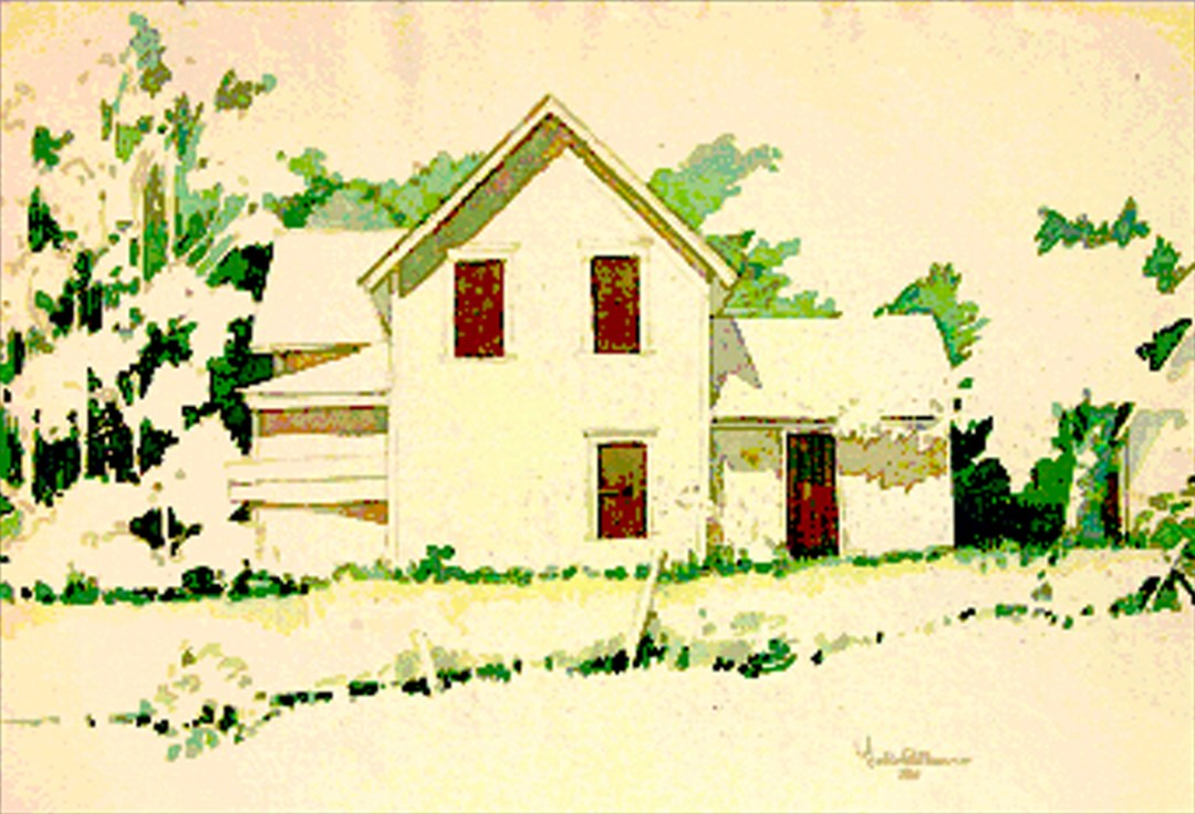 midwest old farmhouse lit up bright sunny watercolor by Fred W. Peterson