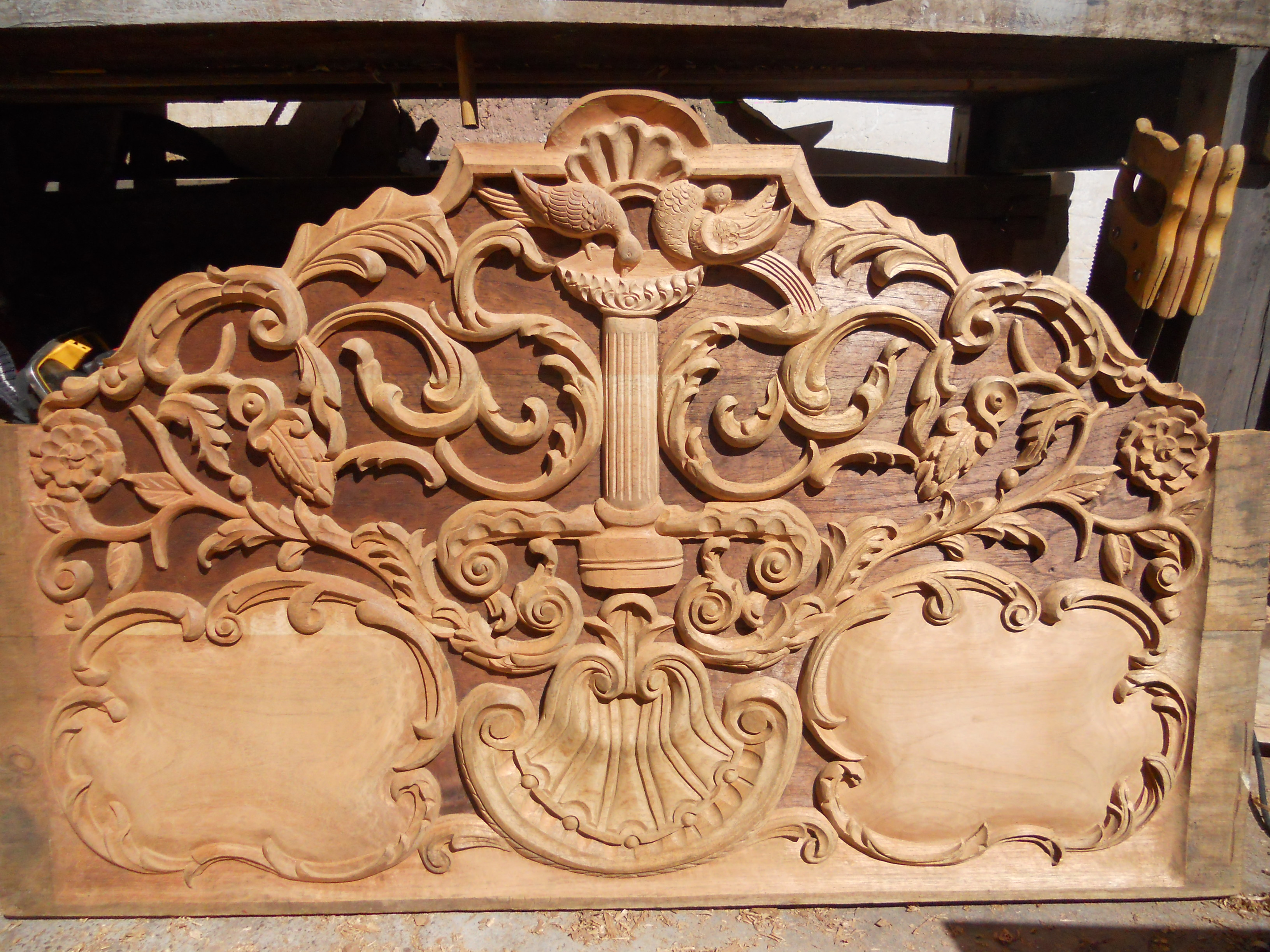 Wood Carving   Fredy Huaman Art Restoration Headboard carving in process