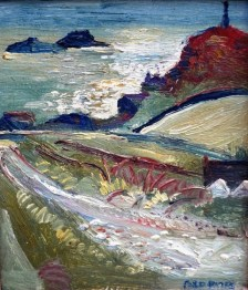 Fred Yates Cape Cornwall oil on board
