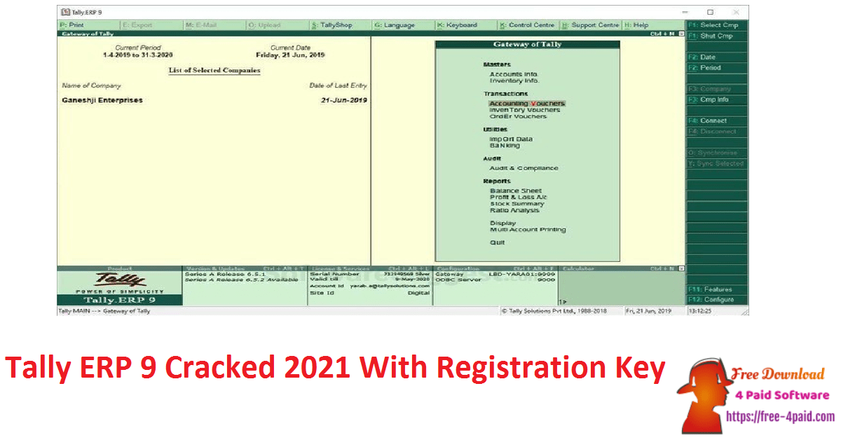 Tally ERP 9 Cracked 2021 With Registration Key