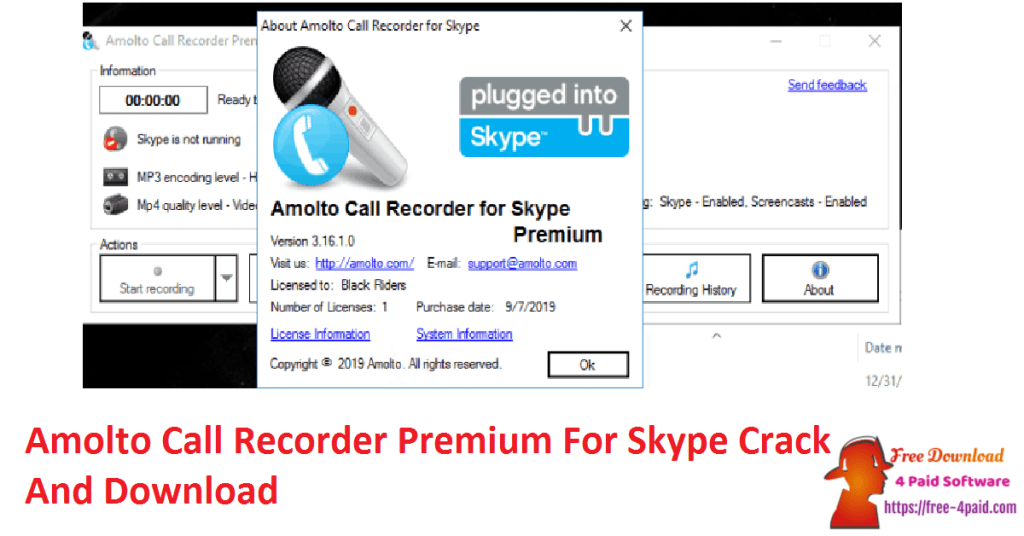 Amolto Call Recorder Premium For Skype Crack And Download
