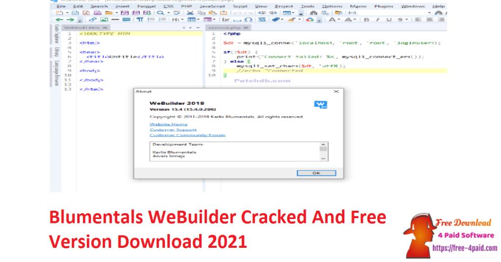Blumentals WeBuilder Cracked And Free Version Download 2021