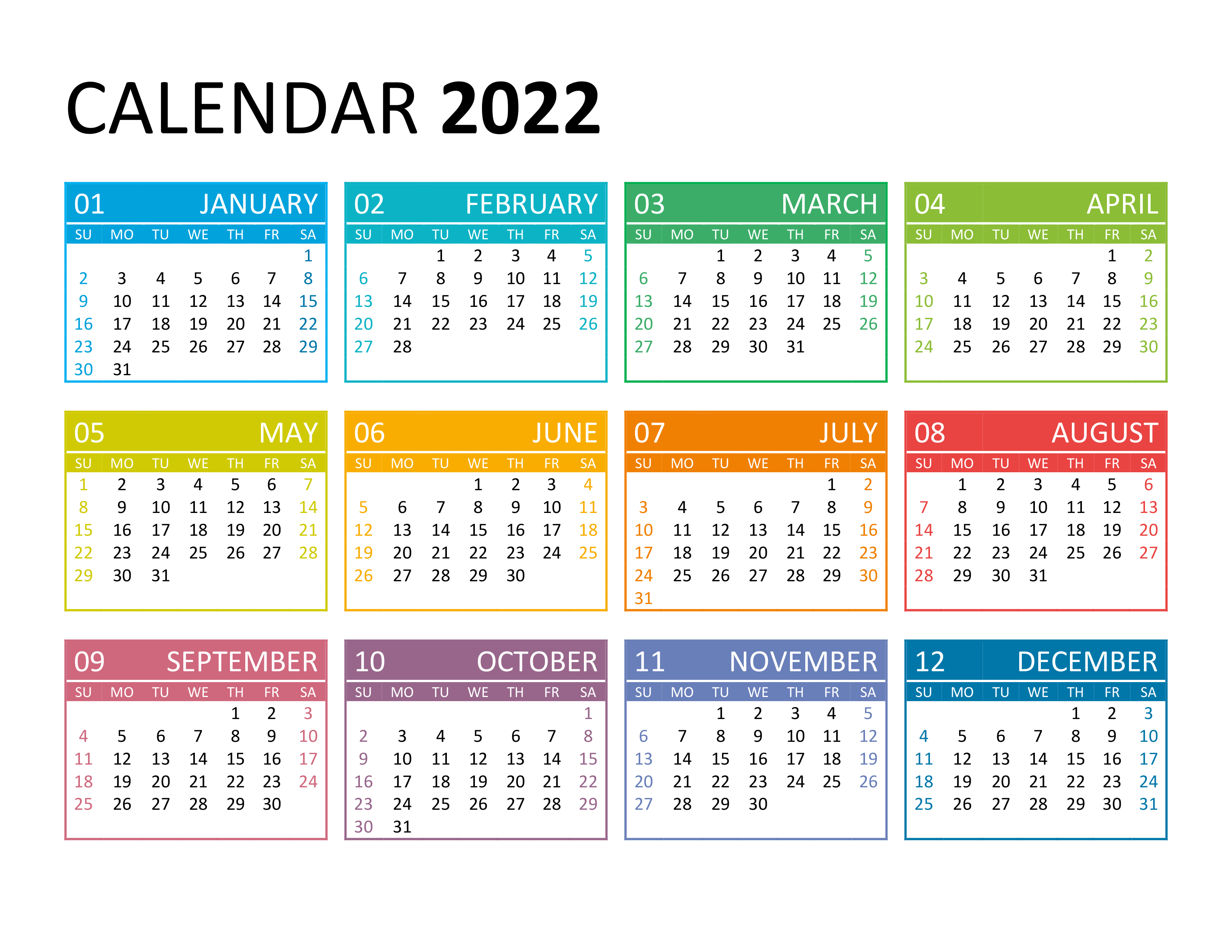 While most people have moved on to the electronic calendar, there are many reasons to use a printable 2022 calendar for next year. Yearly calendar 2022 - free-calendar.su