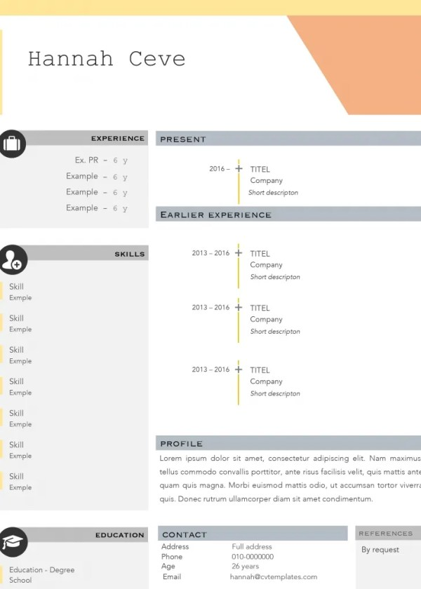 Frame Free Word CV Template