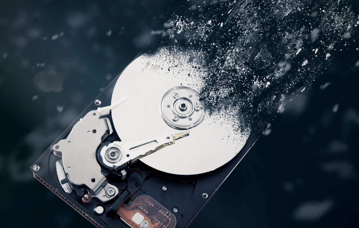 A hard drive, turning into dust