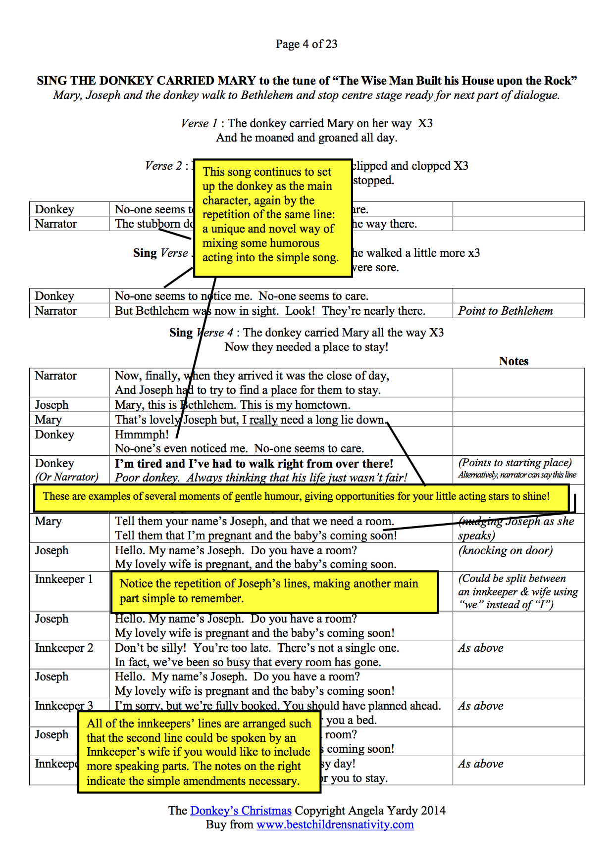 The Donkeys Christmas Play Page 4 Script Preview English