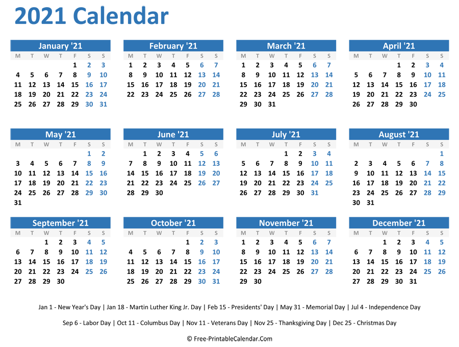 As we mark the one year anniversary of england's first. 2021 Yearly Calendar with Holidays (Horizontal Layout)
