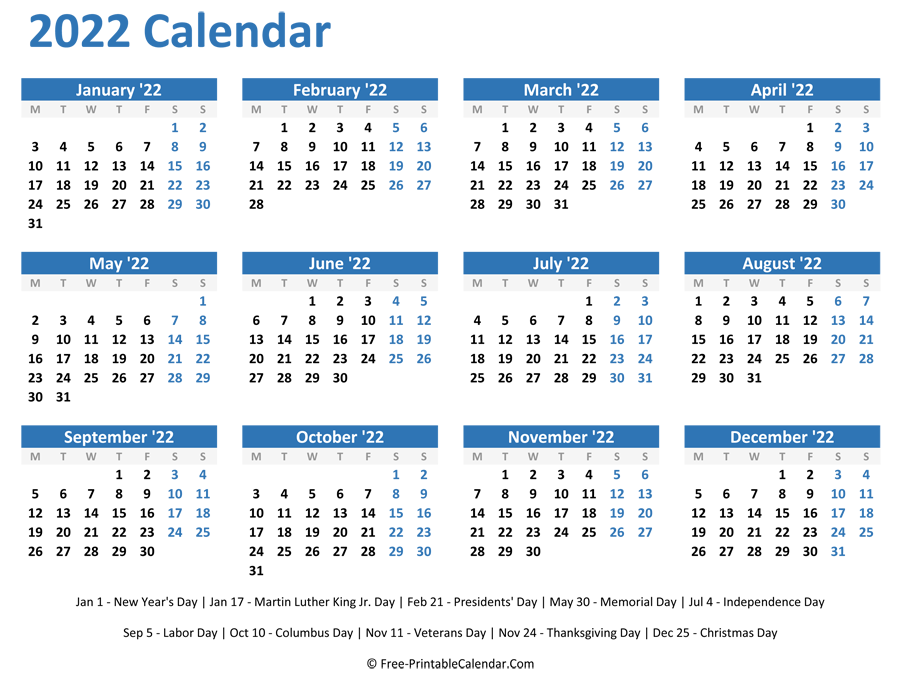 The calendar of events lists these seminars and programs. 2022 Yearly Calendar