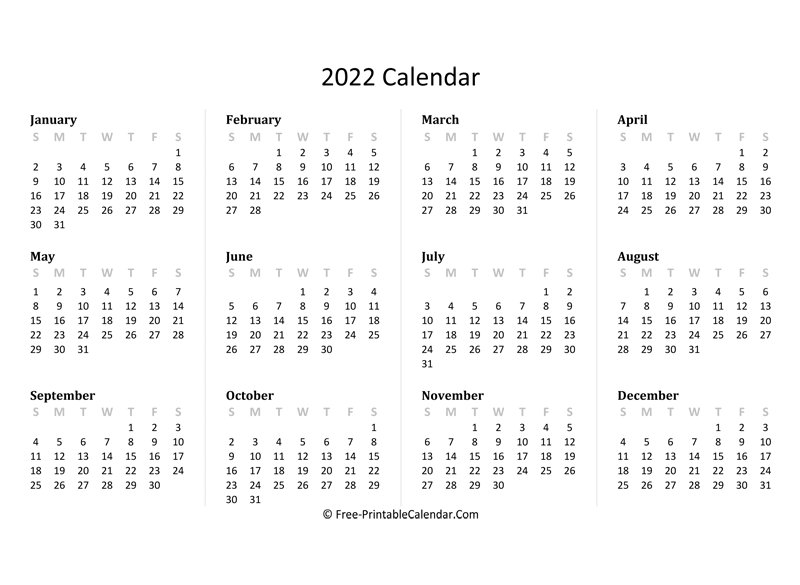 Download printable calendar 2021 with holidays 2022 Yearly Calendar