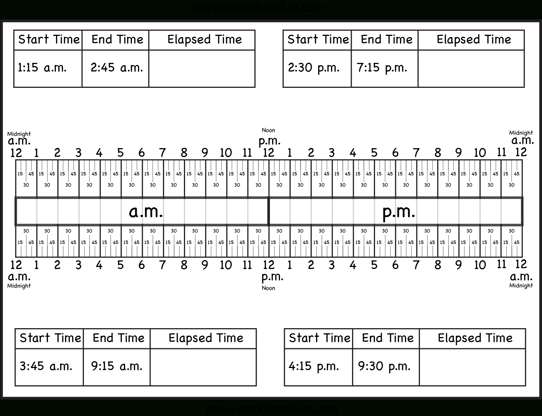 Calculate Elapsed Time 5 Worksheets 15 30 45 60