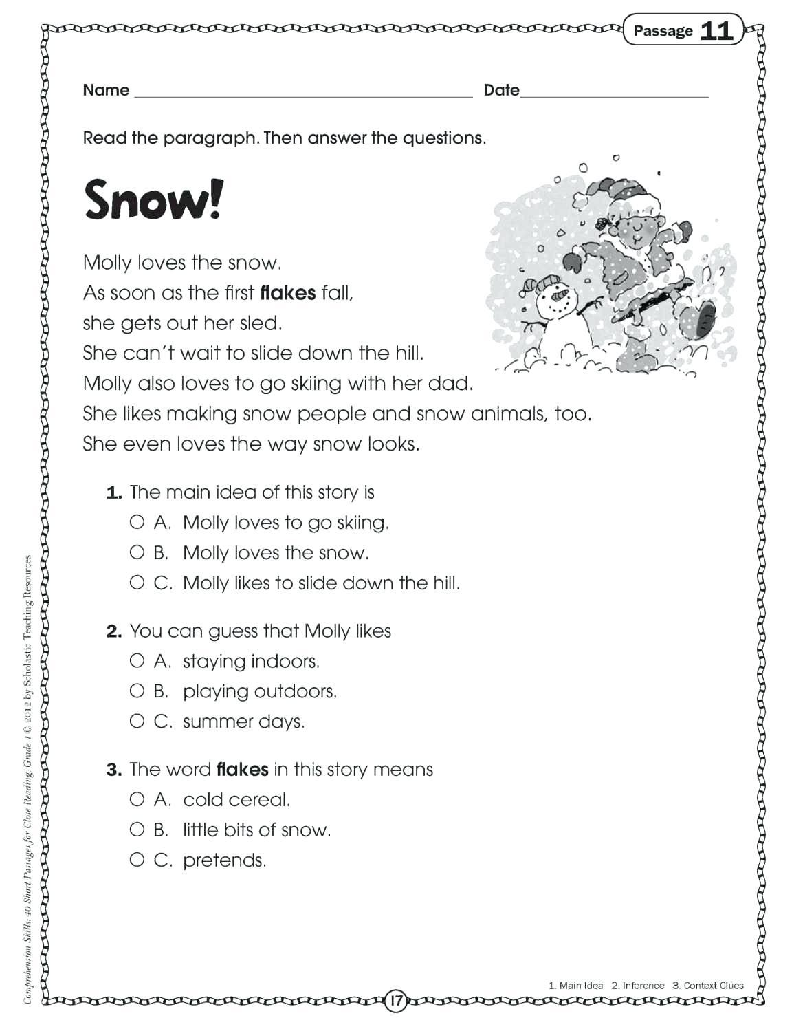Christmas Reading Game Printable