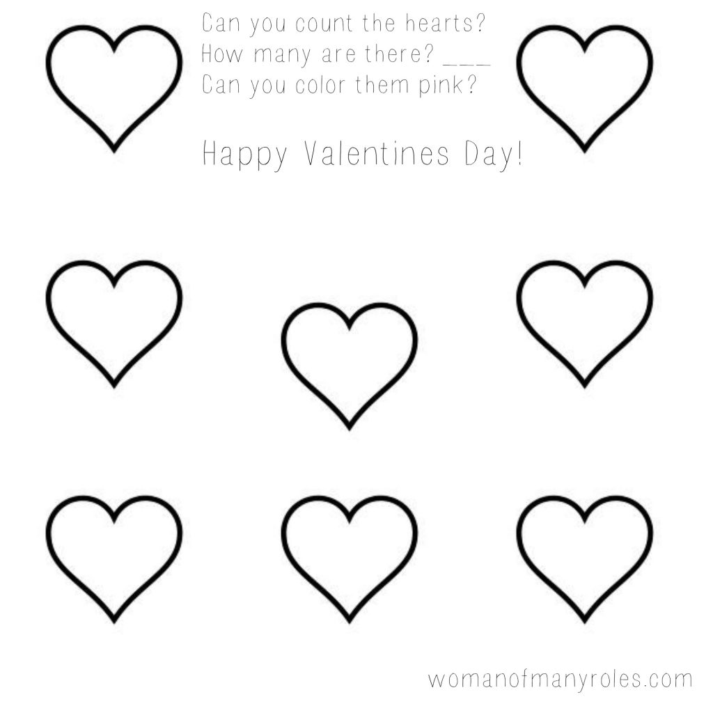 Heart Counting Printable Preschool Worksheet Woman Of