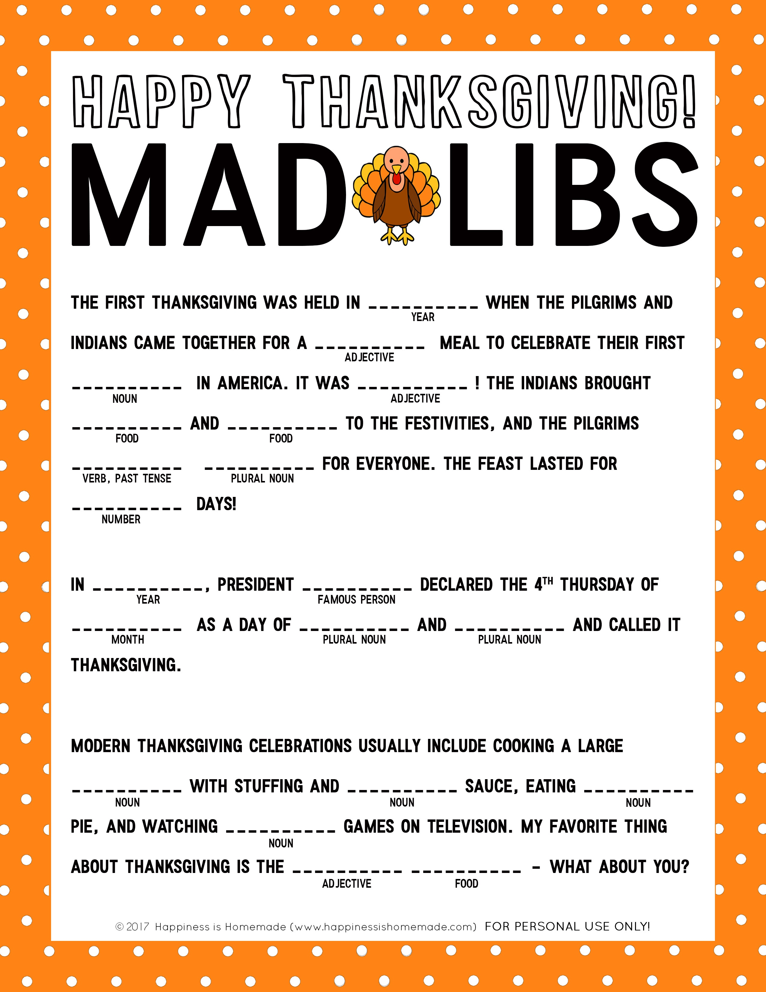 Free Printable Thanksgiving Mad Libs