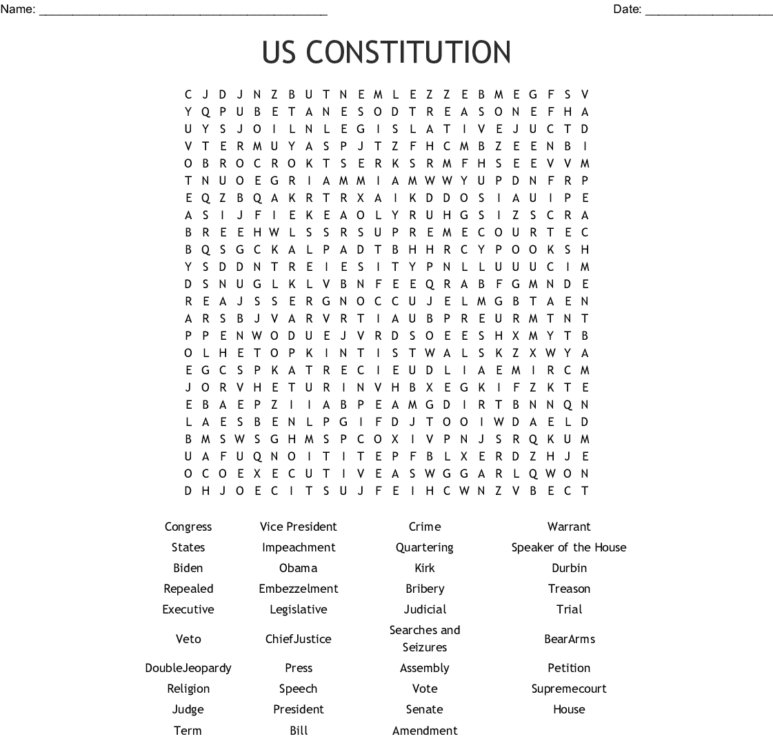 Free Printable Us Constitution Worksheets