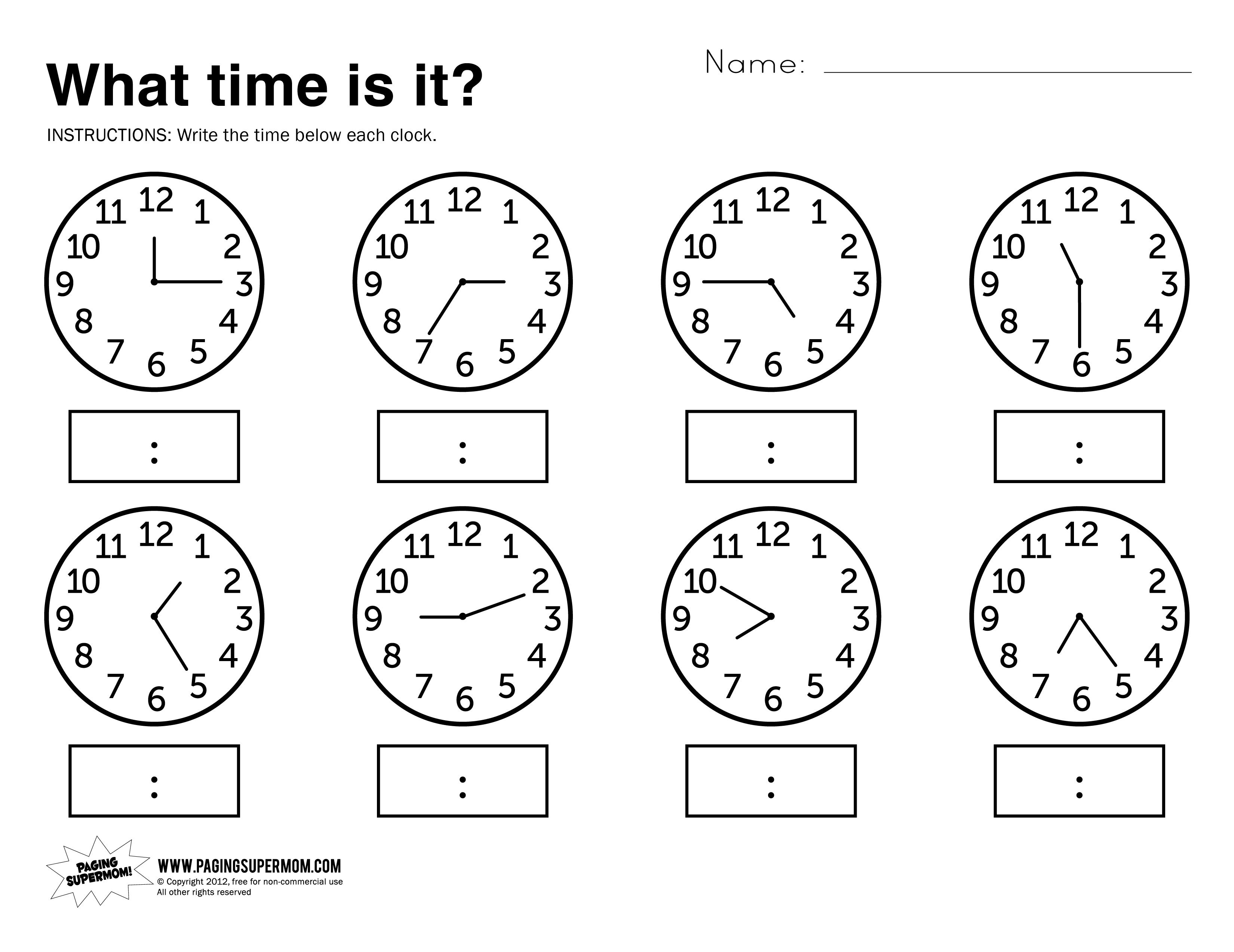 Free Printable Telling Time Worksheets