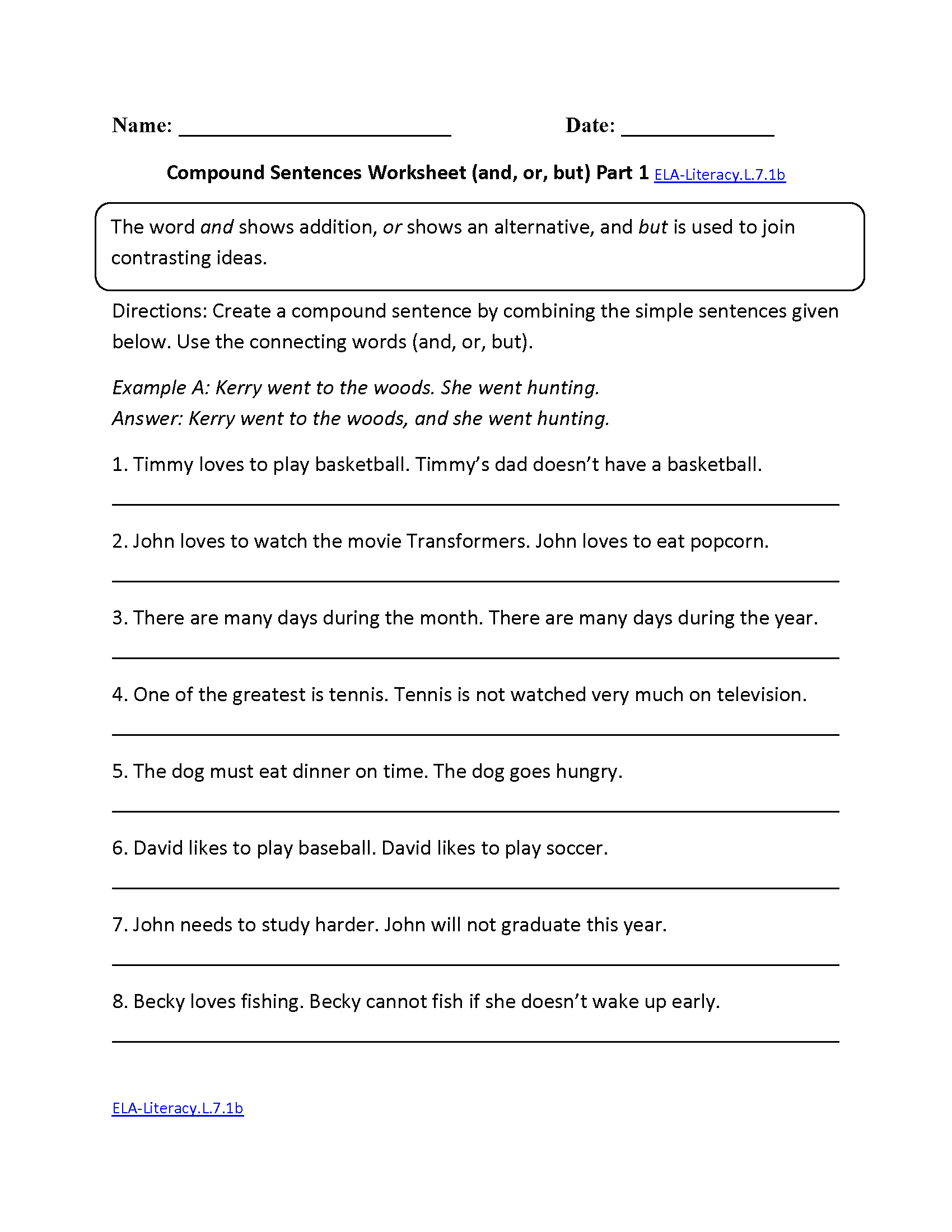 7th Grade Common Core Language Worksheets