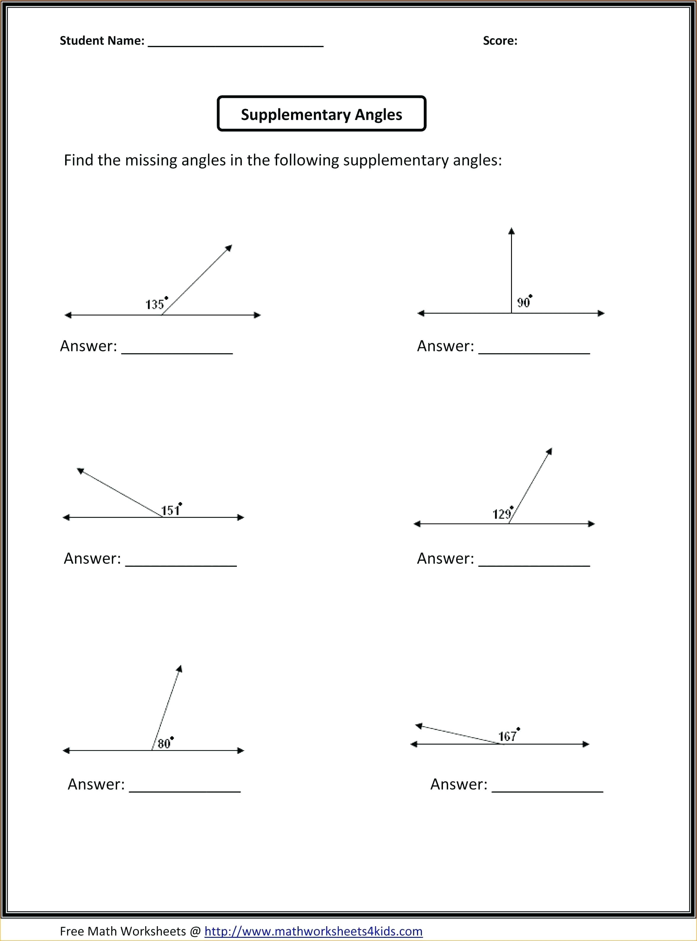 Free Printable Geometry Worksheets For Middle School