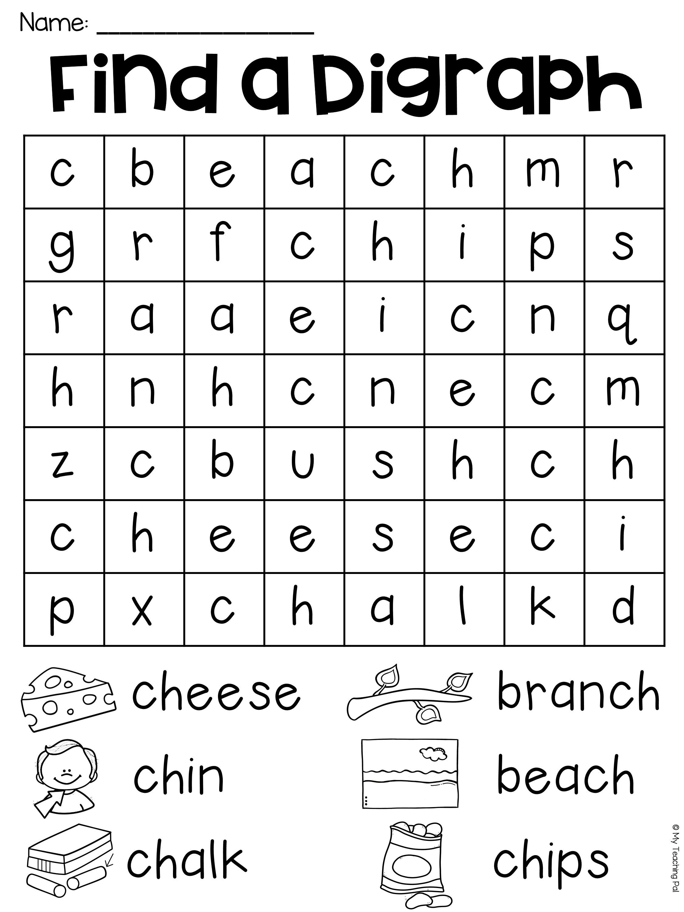 Free Printable Ch Digraph Worksheets