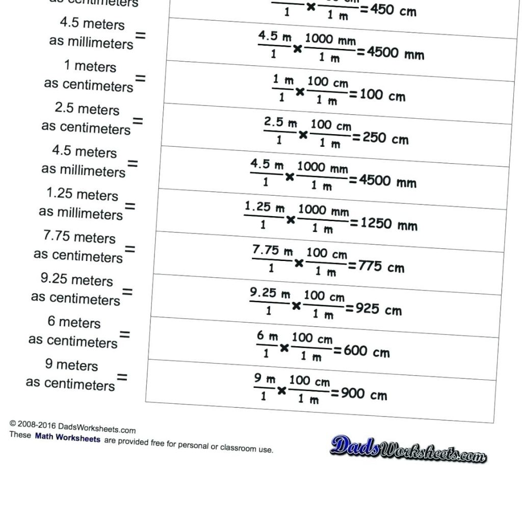 Conversion Prefixes Math Printable Printable Metric System