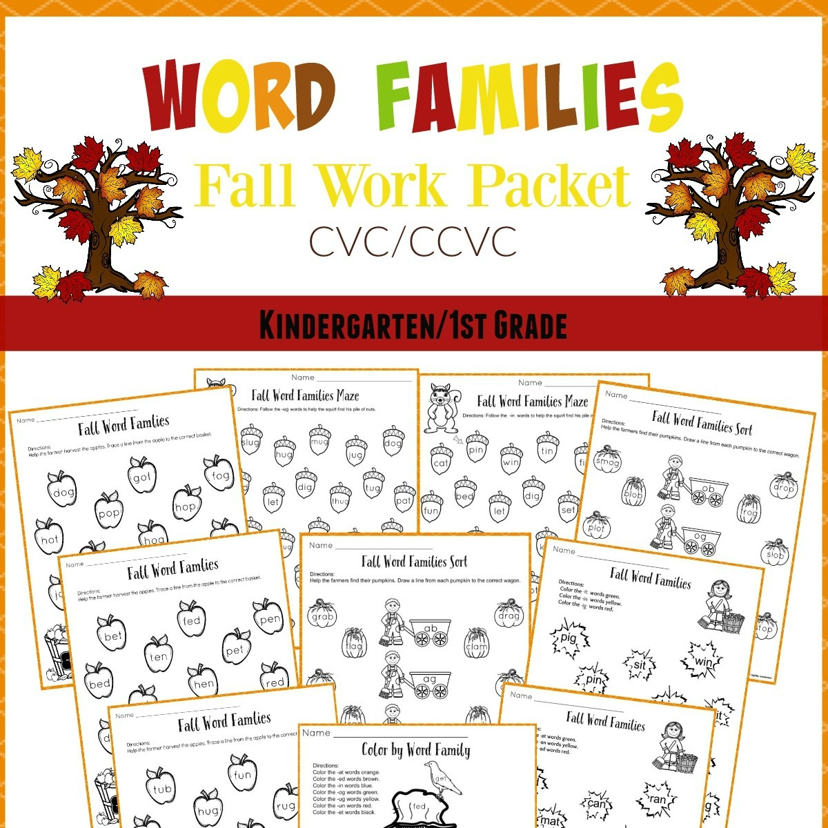 Free Printable Word Family Worksheets For Kindergarten