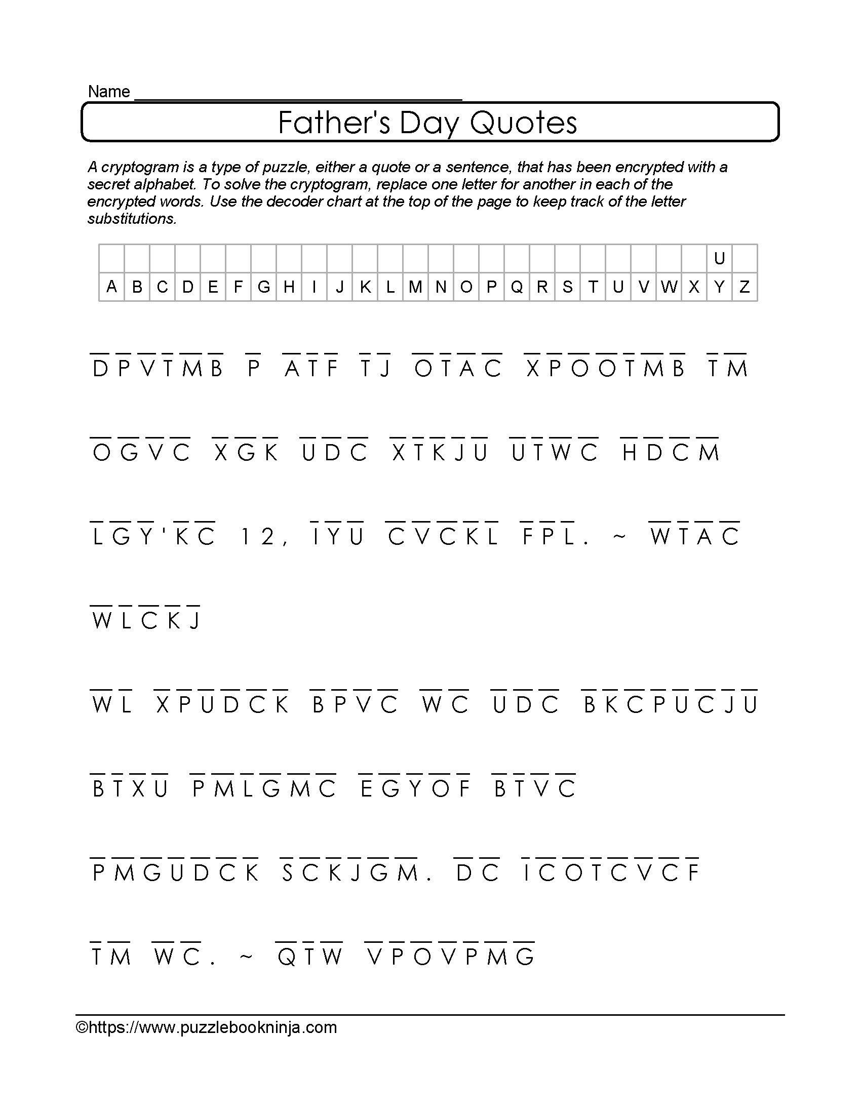 Free Printable Cryptograms
