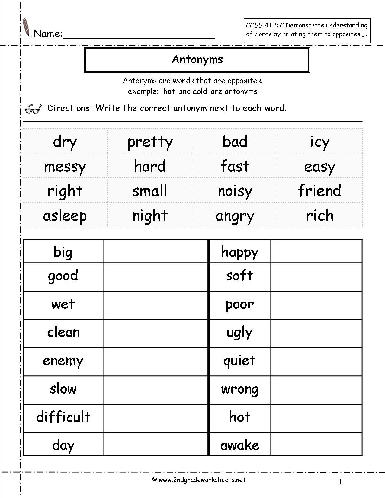 Free Printable Grammar Worksheets For 2nd Grade