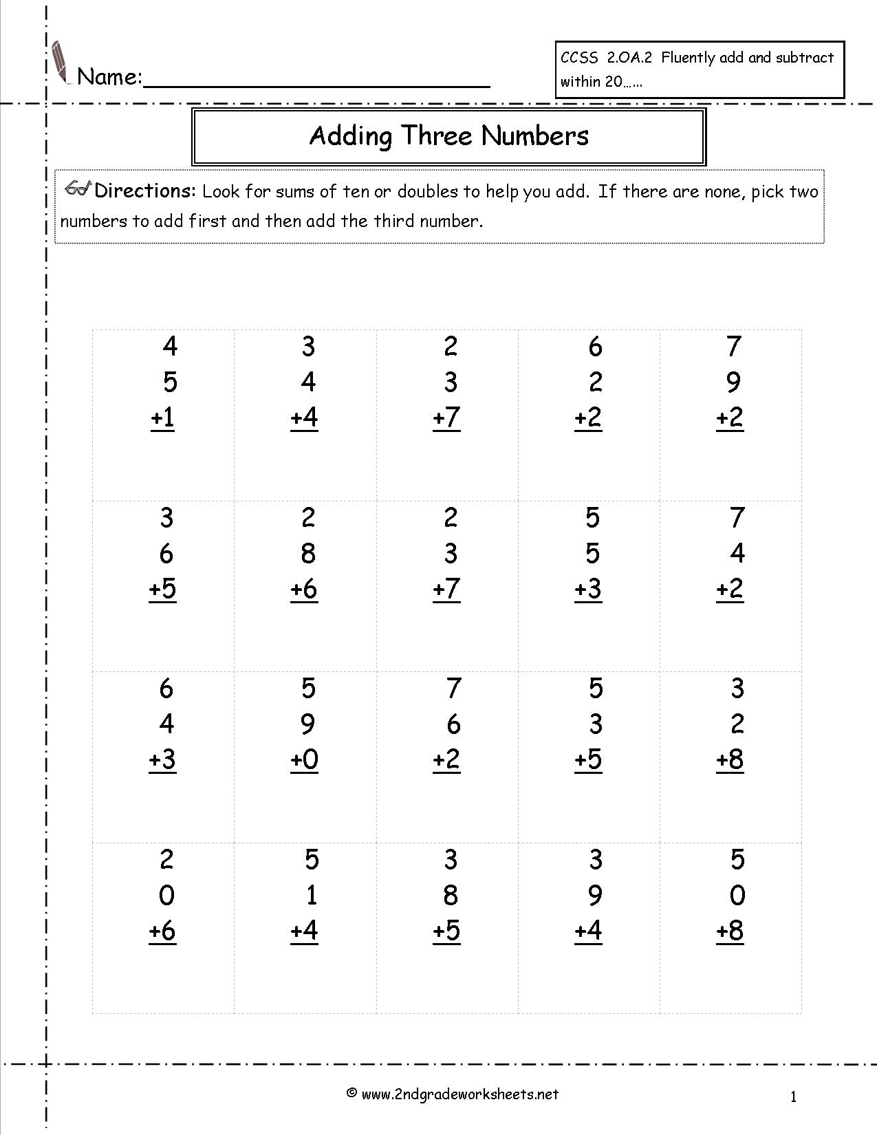 Free Printable Second Grade Math Worksheets