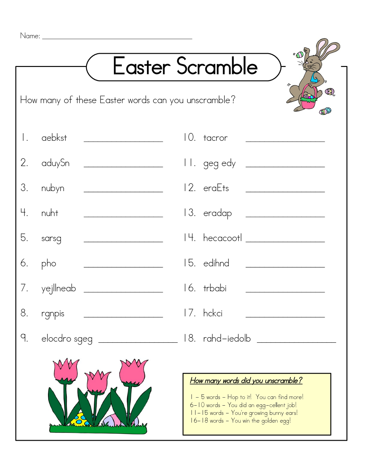 Free Printable Word Scramble Worksheets