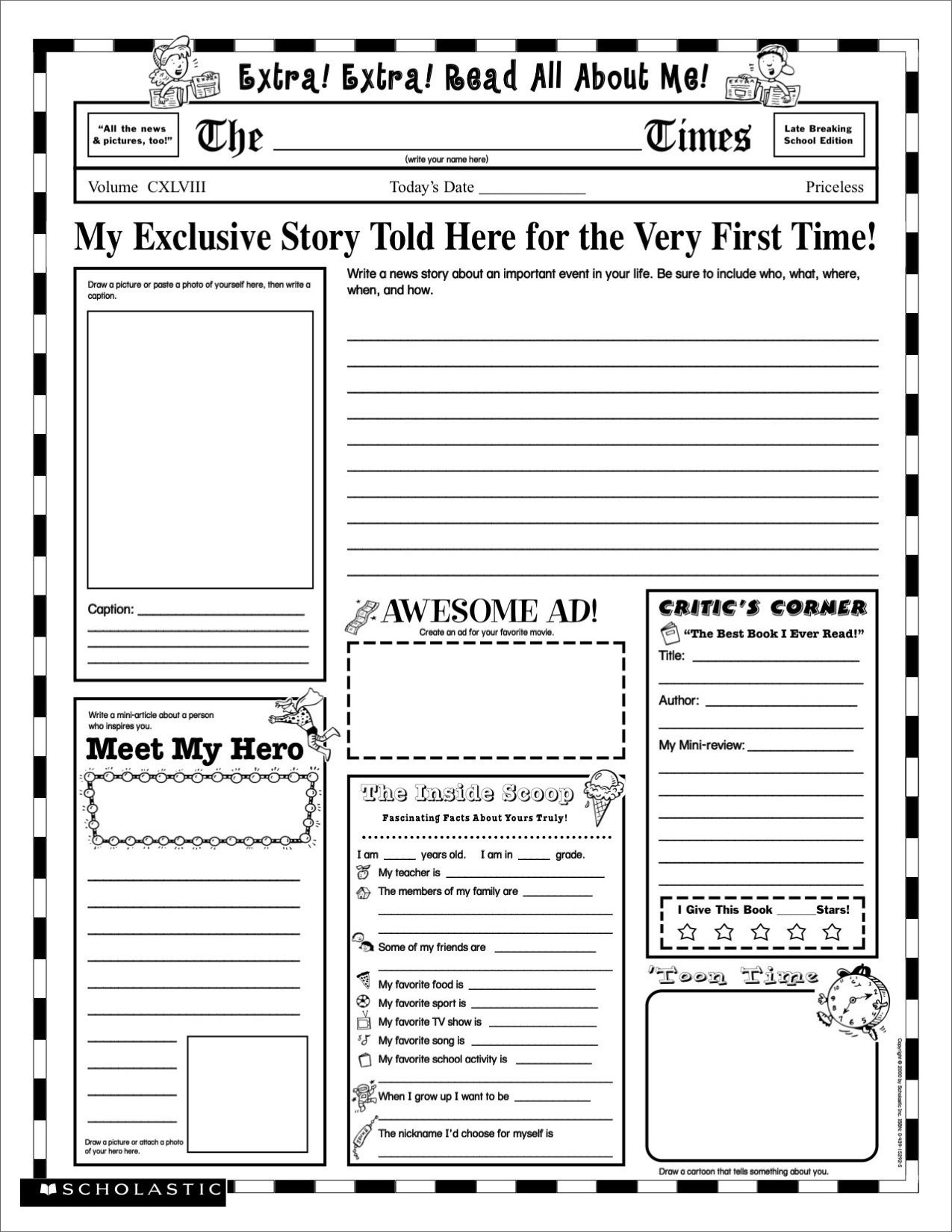Printable Newspaper Activity The Year I Was Born