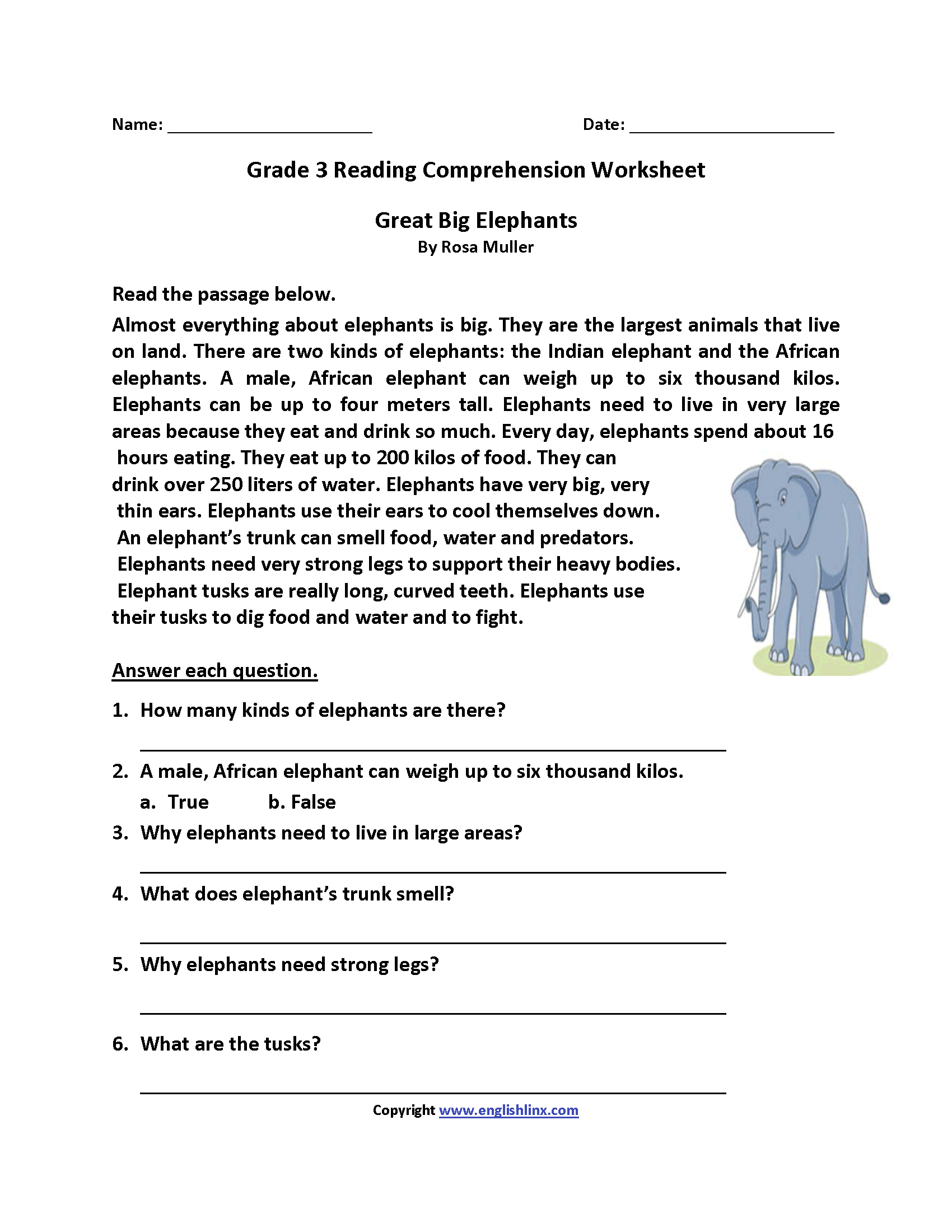 Third Grade Reading Worksheets Free Printable