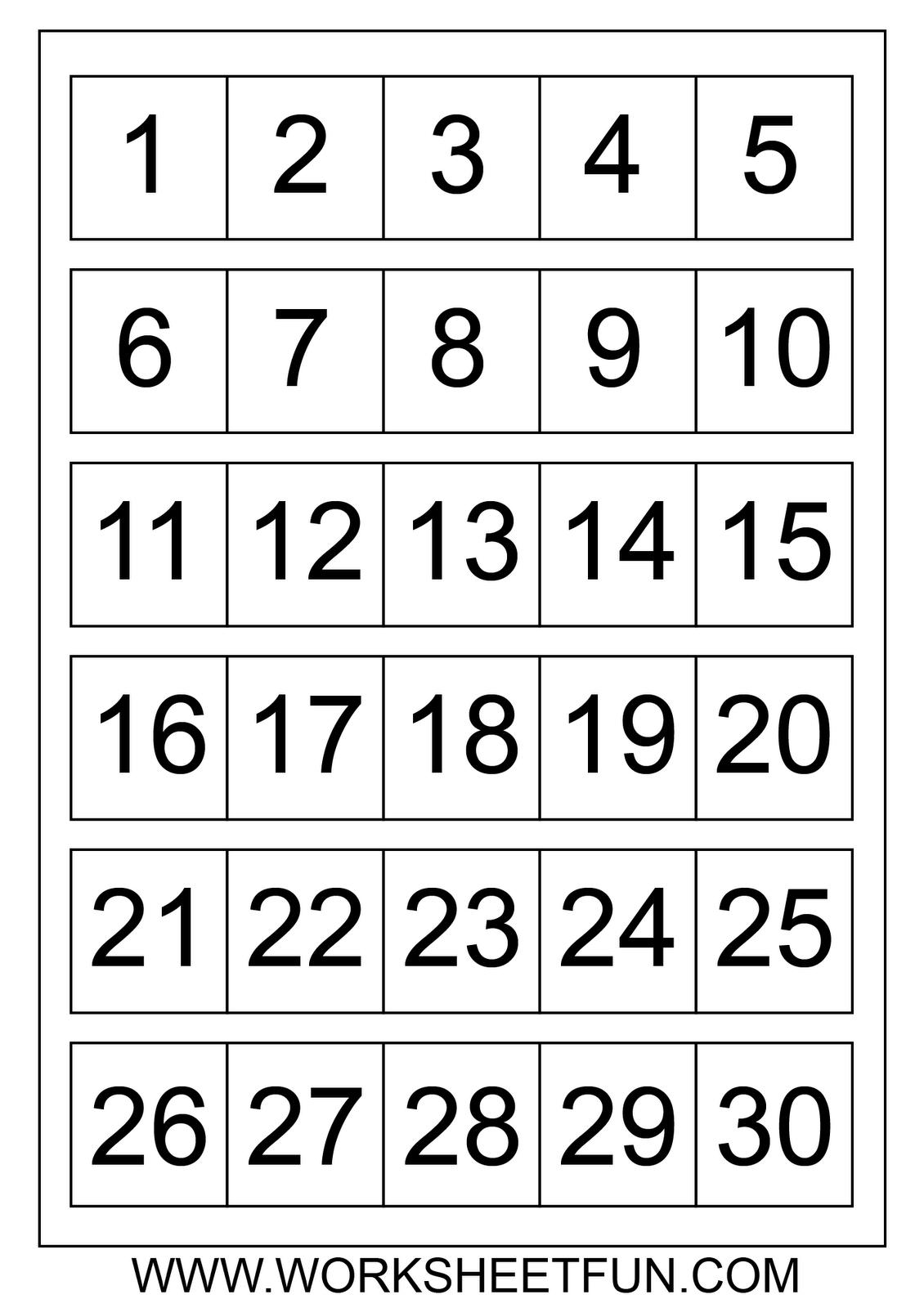 Free Large Printable Numbers 1 100