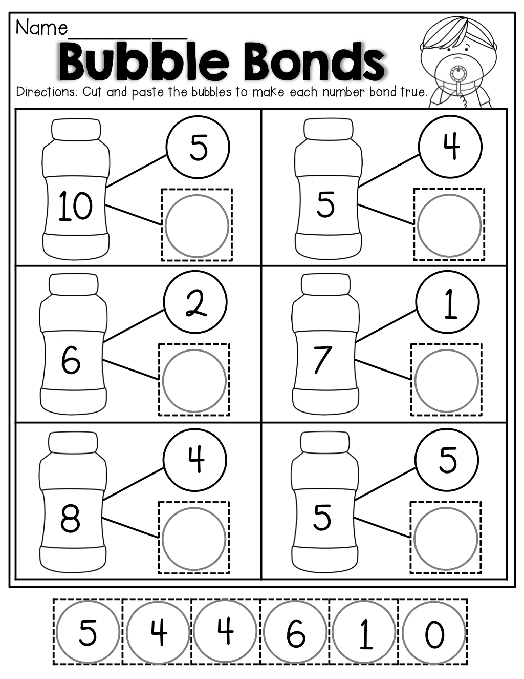 Free Printable Number Bonds Worksheets For Kindergarten