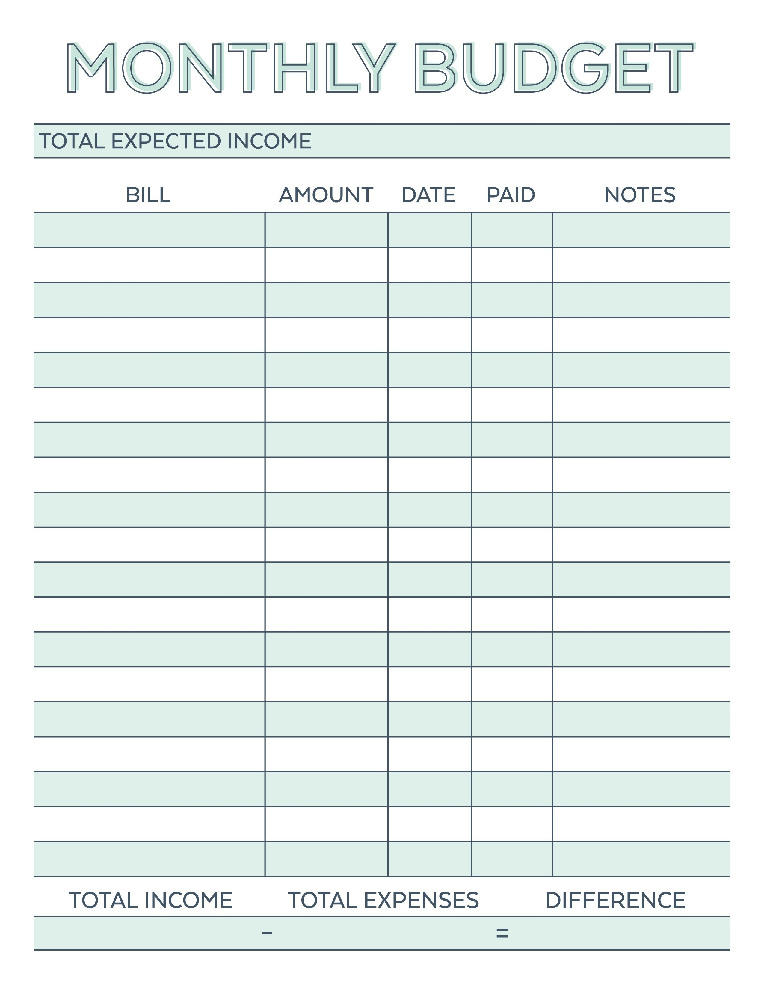 Free Printable Budget Worksheet Template