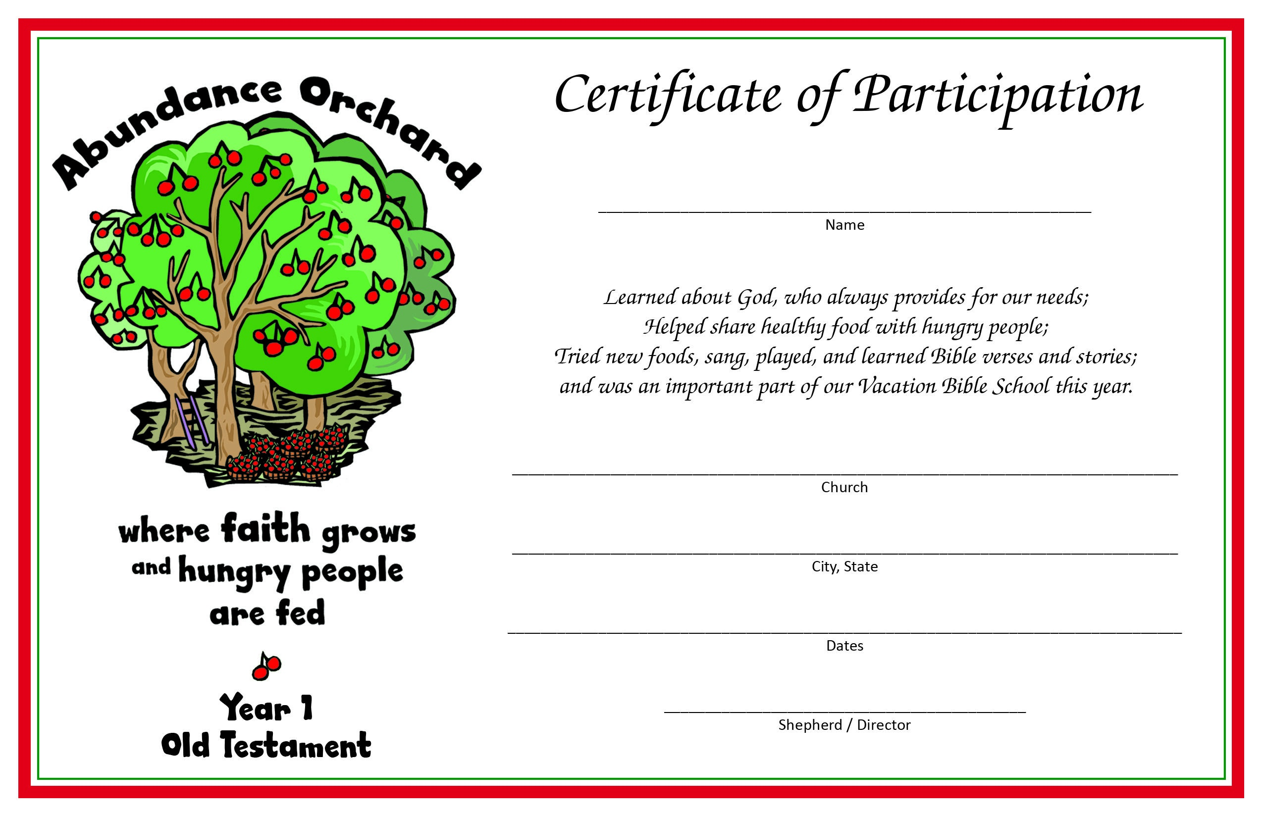 Free Printable Vacation Bible School Materials