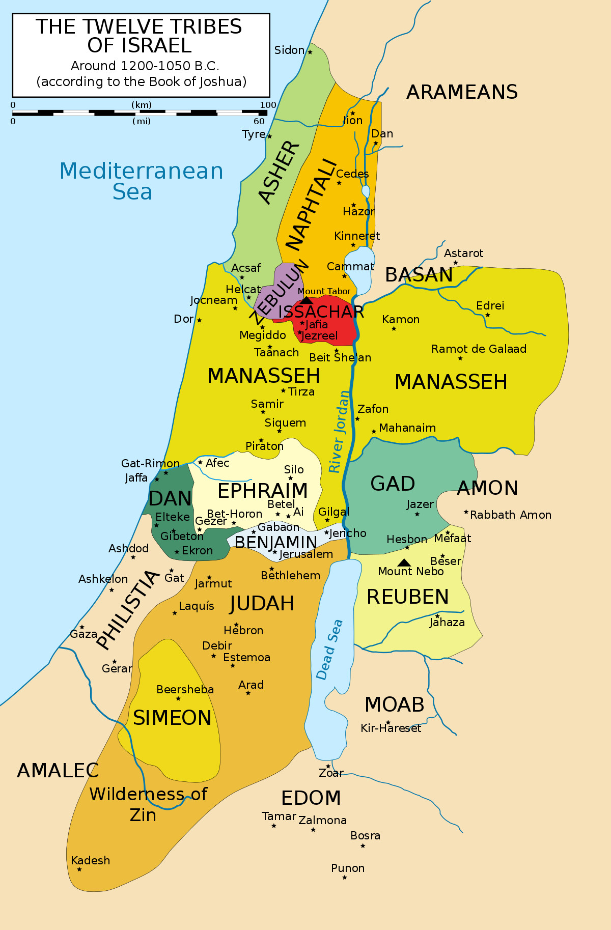 10 Best Of Printable Map Of 12 Tribes Of Israel
