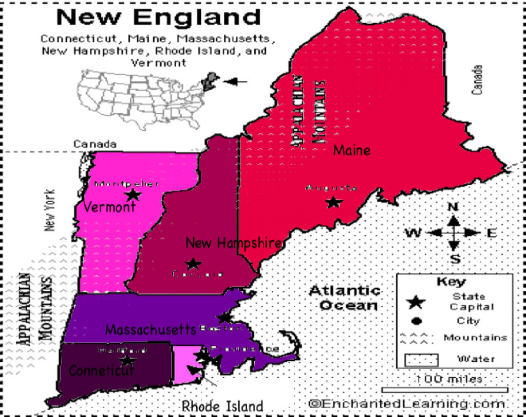 Map Of New England States And Their Capitals