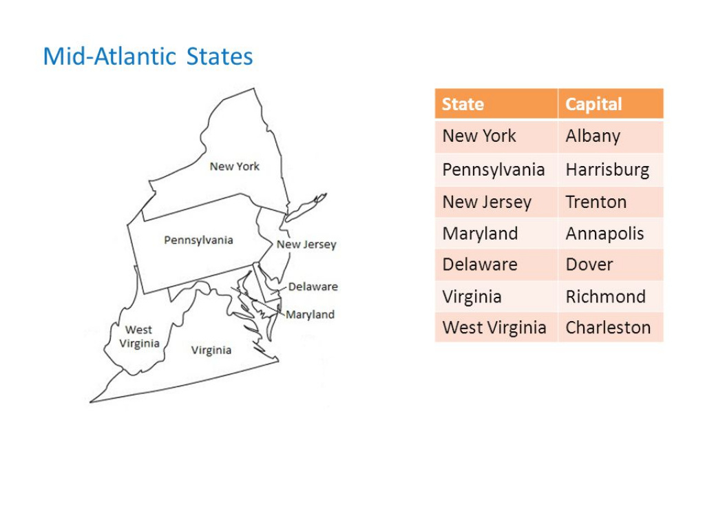 Mid Atlantic States And Capitals Map