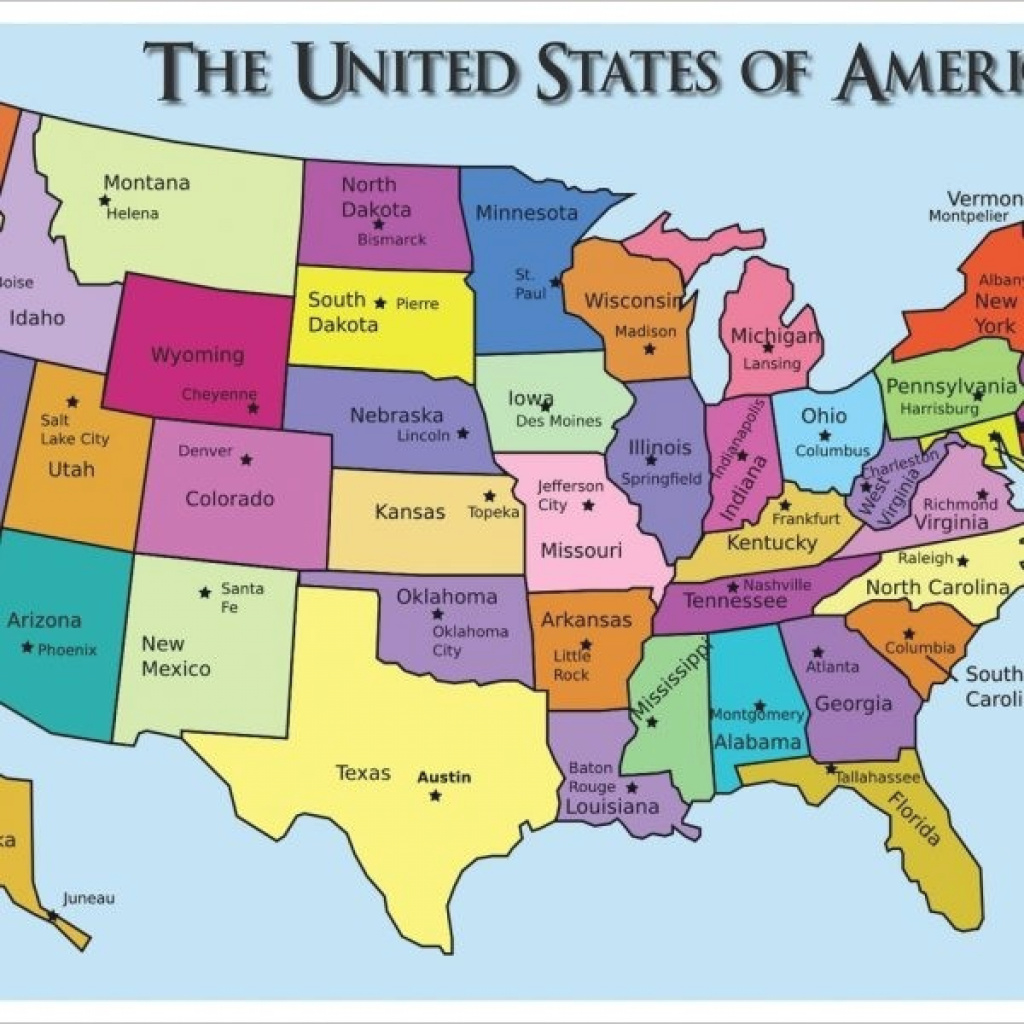 Map Of United States With State Names And Capitals