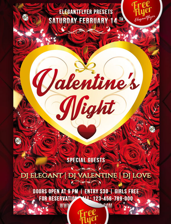 25 PSD Flyers Elements For St Valentines Day Free