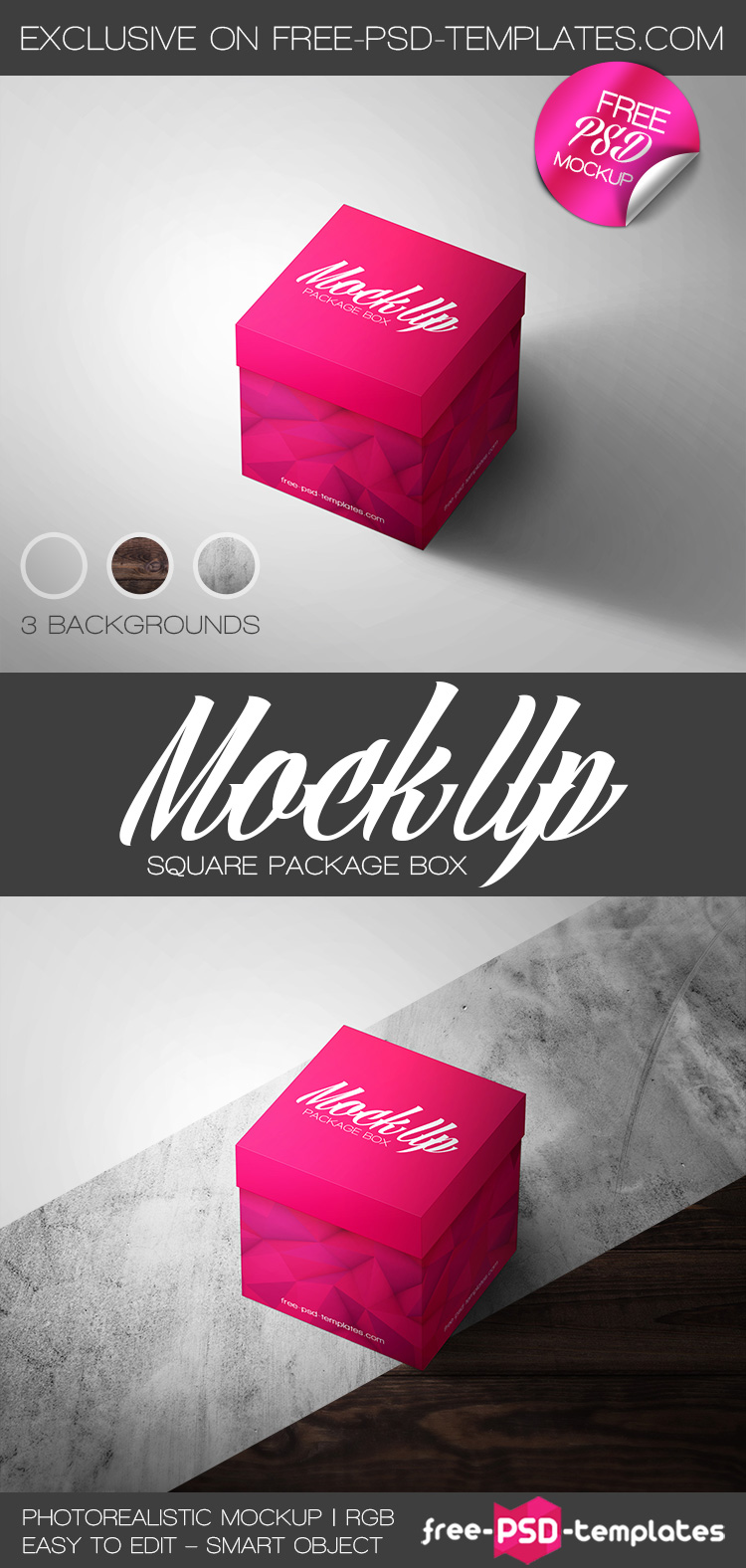 Download Free Square Package Box Mock-up in PSD | Free PSD Templates