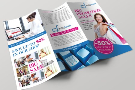 50  FREE   PREMIUM PSD BUSINESS FLYERS   BROCHURES TEMPLATES    Free     Big Sale PSD Tru Fold Brochure Template