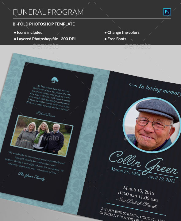 20 Modern And Professional Free PSD Funeral Program Templates Free PSD Templates